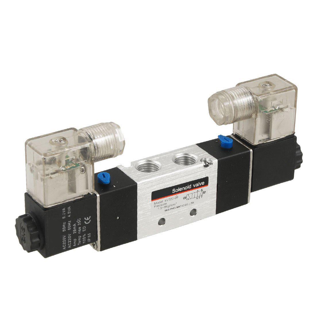 Van cơ điện từ đôi 5 cửa 2 vị trí 4V220-08 4V320-10 4V420-15 4V120-