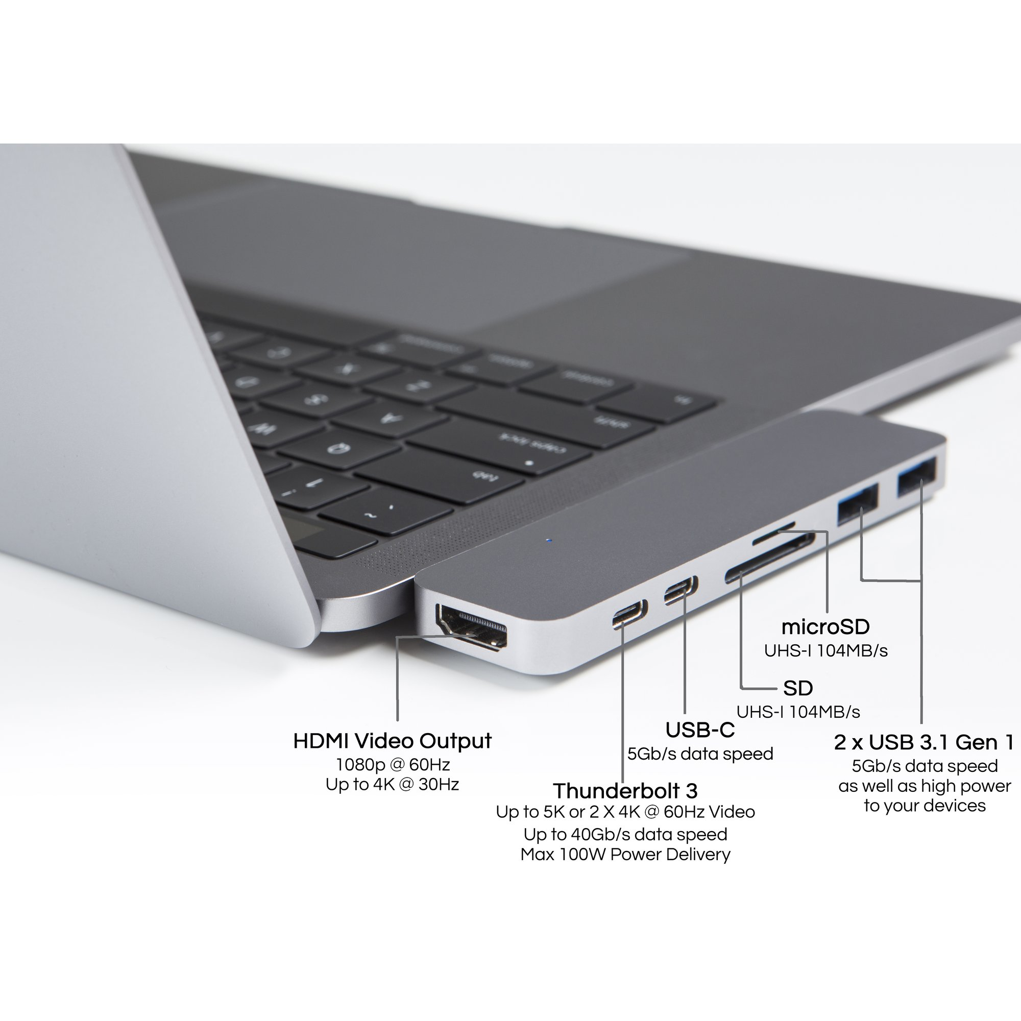 HyperDrive Duo 7 in 2 USB-C Hub to Thunderbolt 3 - Lâm Phong Store