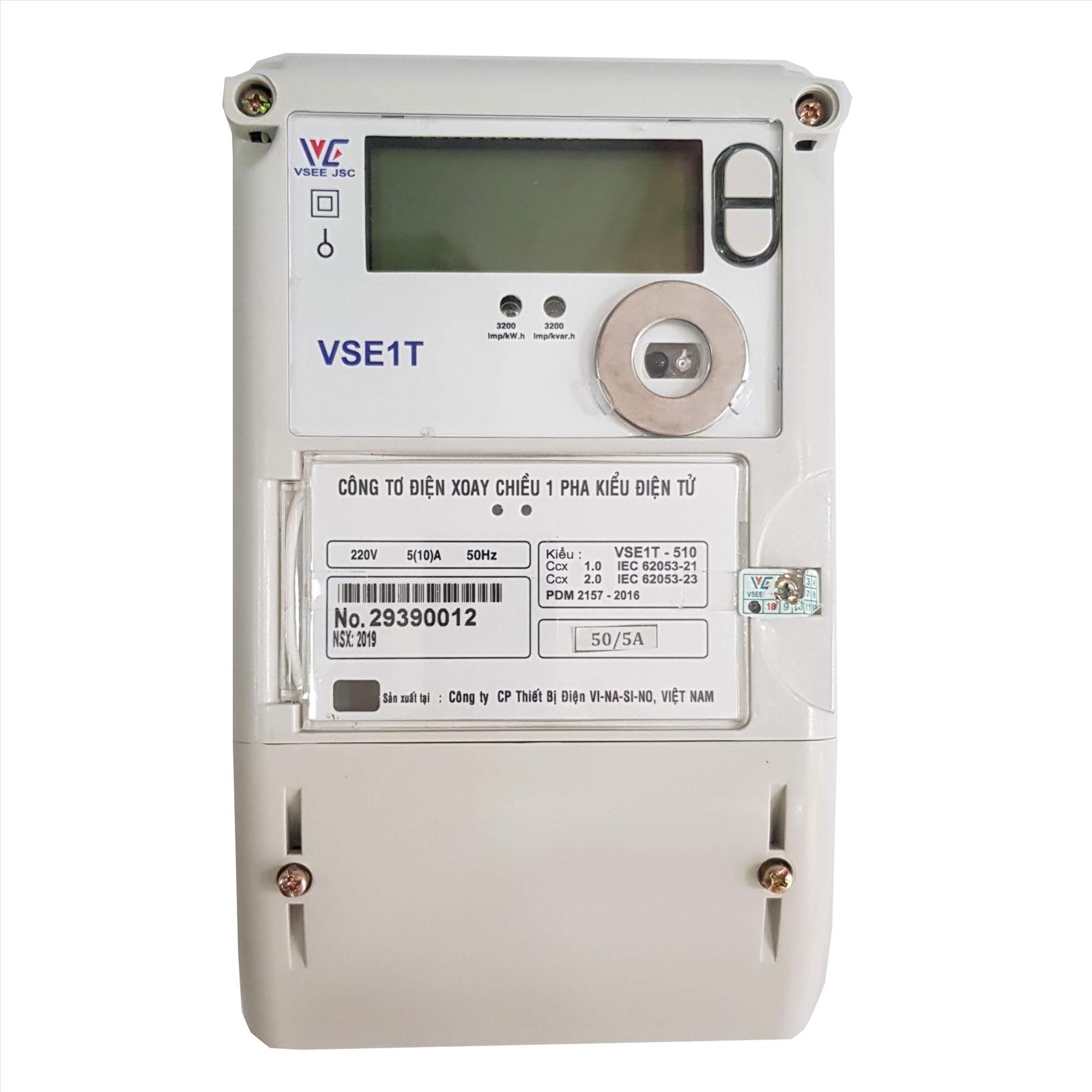 Công tơ điện tử 1 pha 3 giá VSE1T-510 - Công tơ điện tử Vinasino