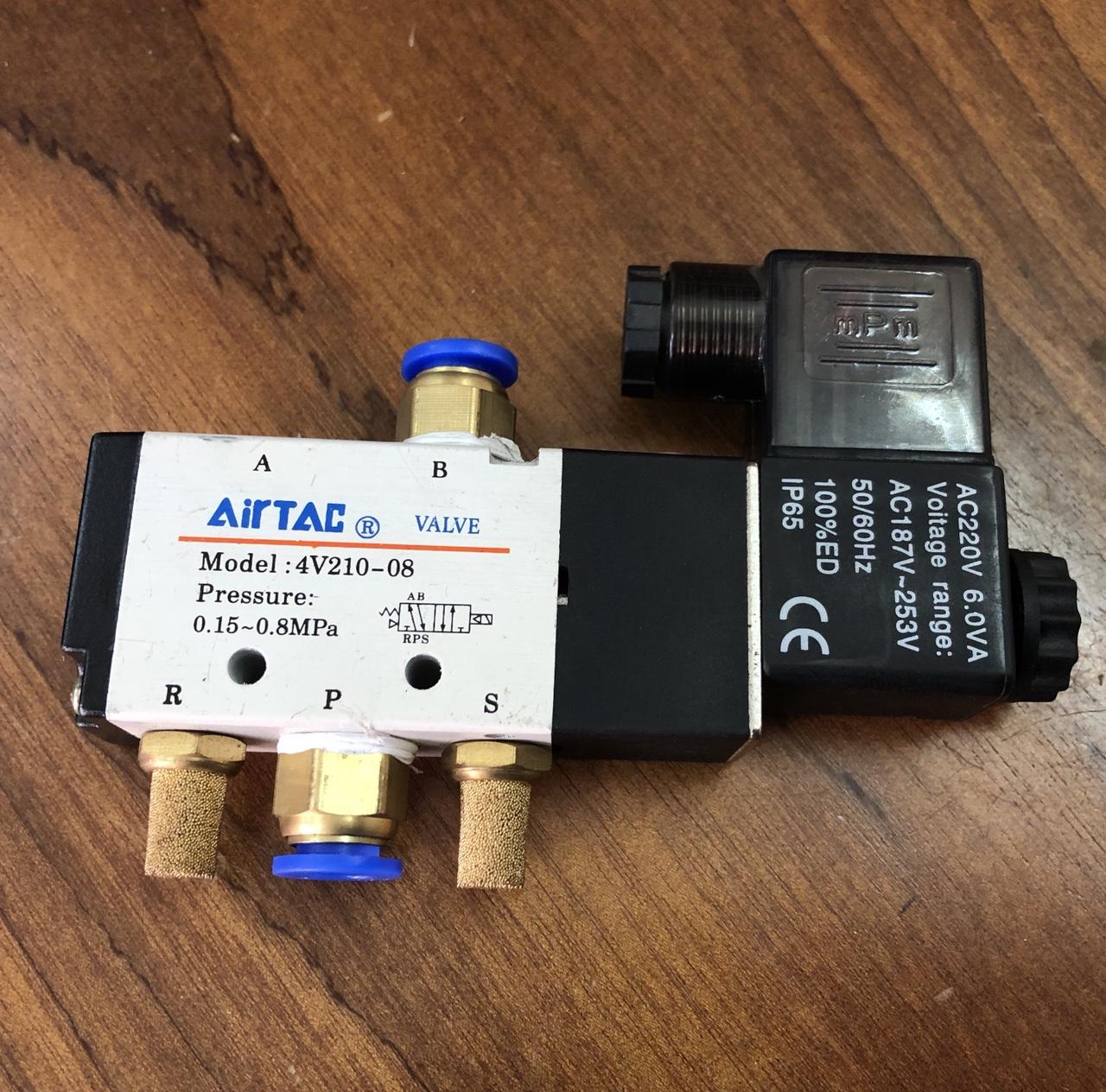 Van điện từ 5/2 một đầu điện 4V210-08 Airtac AC220V