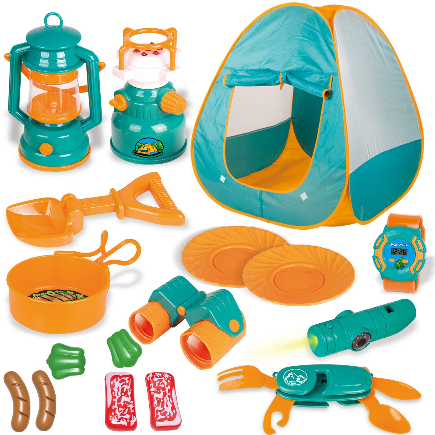 FUN LITTLE TOYS Kids Play Tent, Pop Up Tent with Kids Camping Gear Set, Outdoor Toys Camping Tools Set for Kids, 18 Pieces giá tốt nhất 2020 | FPT Shop