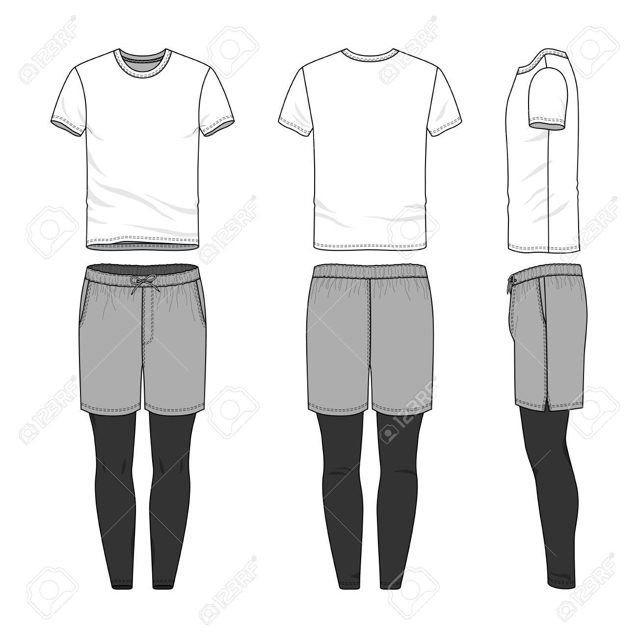 A Vector Templates Of Clothing Set. Front, Back, Side Views Of Blank  T-shirt, Sports Shorts, Jogging Pants. Shirt With Raglan Sleeves.  Sportswear, Uniform Clothes. Fashion Illustration. Cliparts, Vector, Và  Stock Hình ảnh