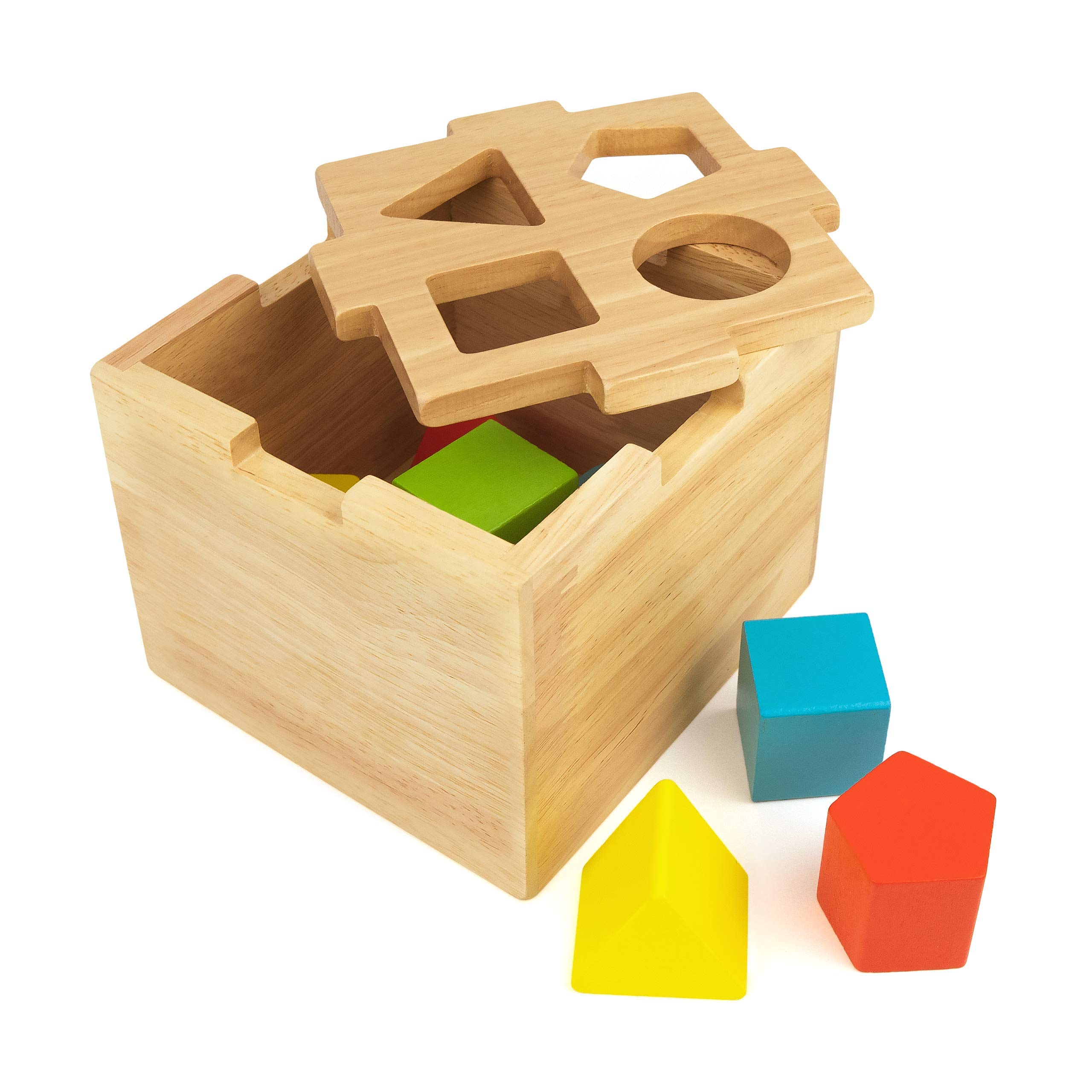 Bimi Boo Shape Sorter - Wooden Toy for Kids Age 2 - Classic Sorting Cube  with Stacking Blocks for Toddlers – Premium Toys for Boys and Girls (8 Pcs,  4 Geometric Shapes