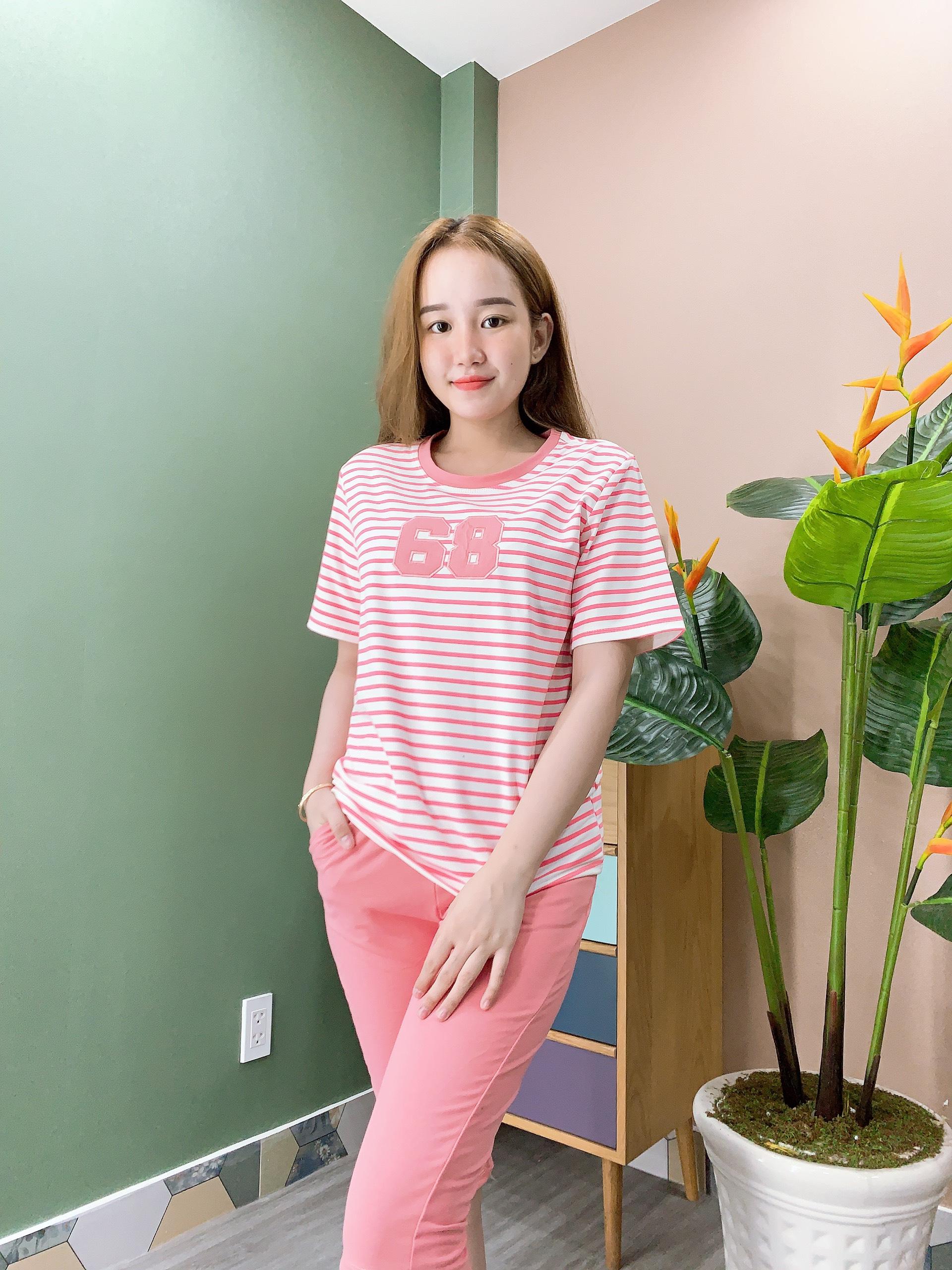 Sỉ đồ bộ thun nữ áo sọc thêu số 68 quần lững - ANN.COM.VN