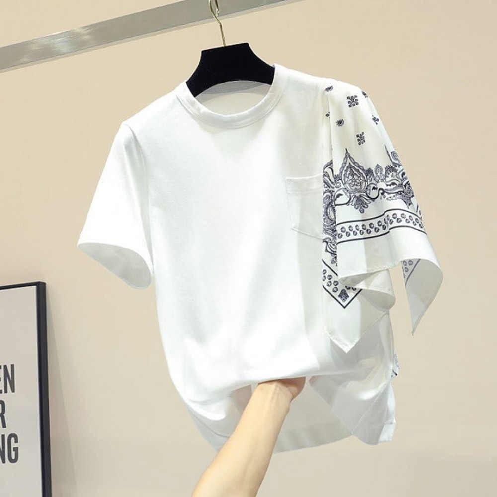 Mùa Hè 2020 Hàn Quốc Nữ Áo Thun Cổ Tròn Không Đều Vát Trang Trí Áo Ngắn Thời Trang Nữ Cao Cấp|Áo phông| - AliExpress