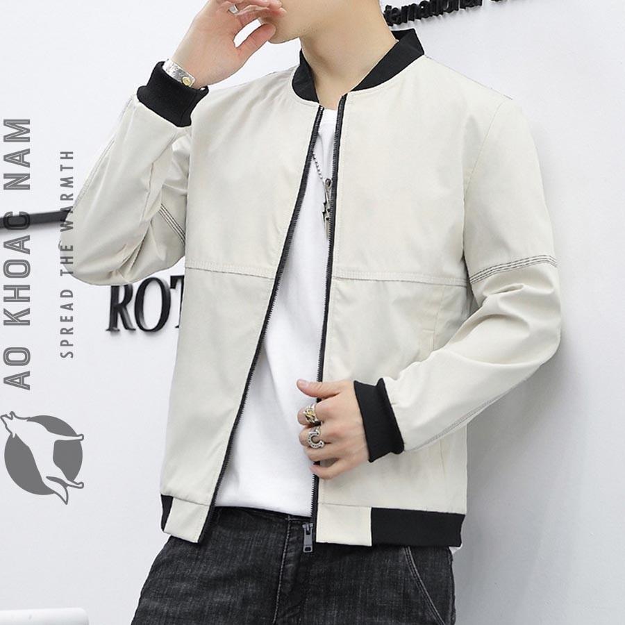 Áo khoác bomber nam trắng 2020 AKN-090 - Shop áo khoác nam xuất khẩu