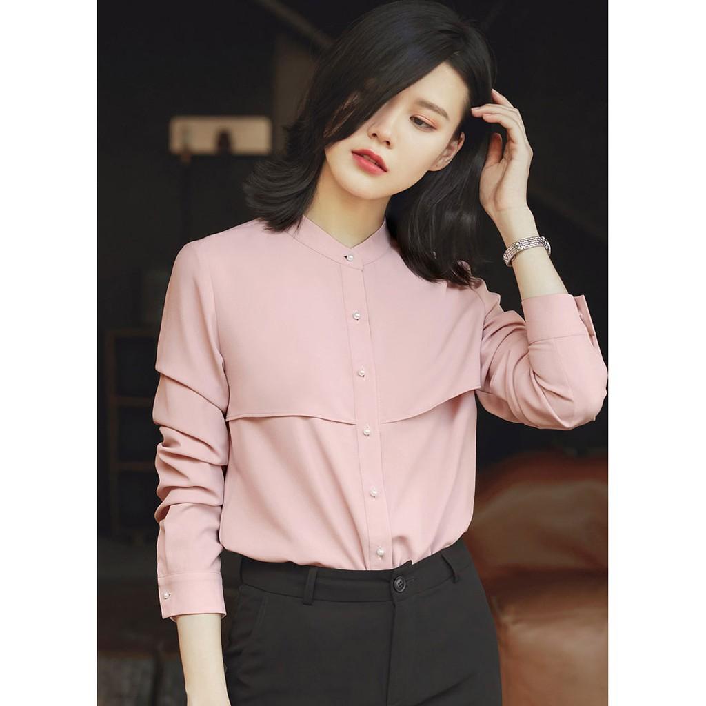 Thời trang thiết kế} -Áo sơ mi nữ tay dài cổ trụ- váy đầm, áo sơ mi mẫu đẹp 2018-2019 | Shopee Việt Nam