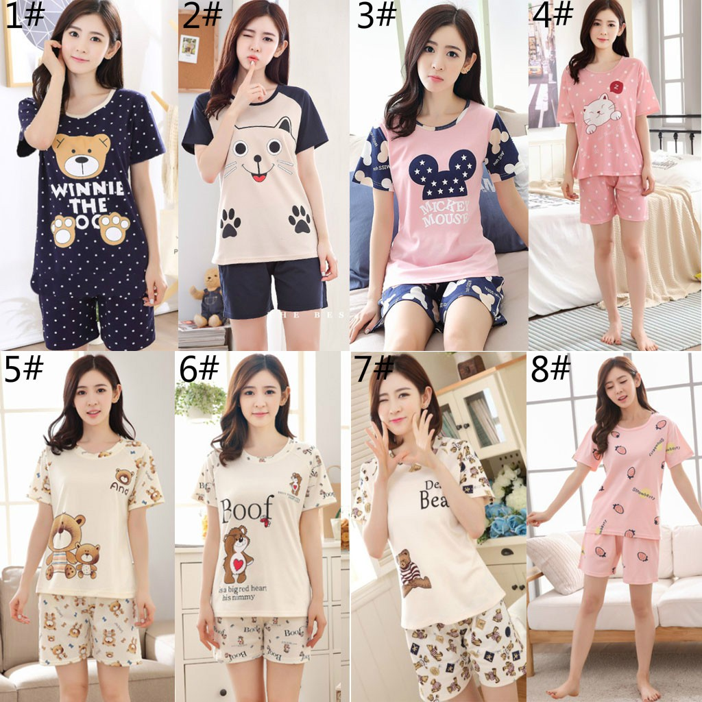 2PCs Pajama Set Women Short Sleeve Sleepwear Nightwear | Shopee Philippines