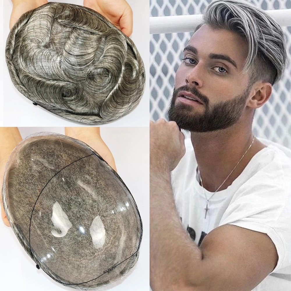 Lace Base Toupee Indian Remy Human Hair Men's Hairpieces Density 120% Pu Sides and Back Breathable Short Hair Wigs|Toupees| - AliExpress