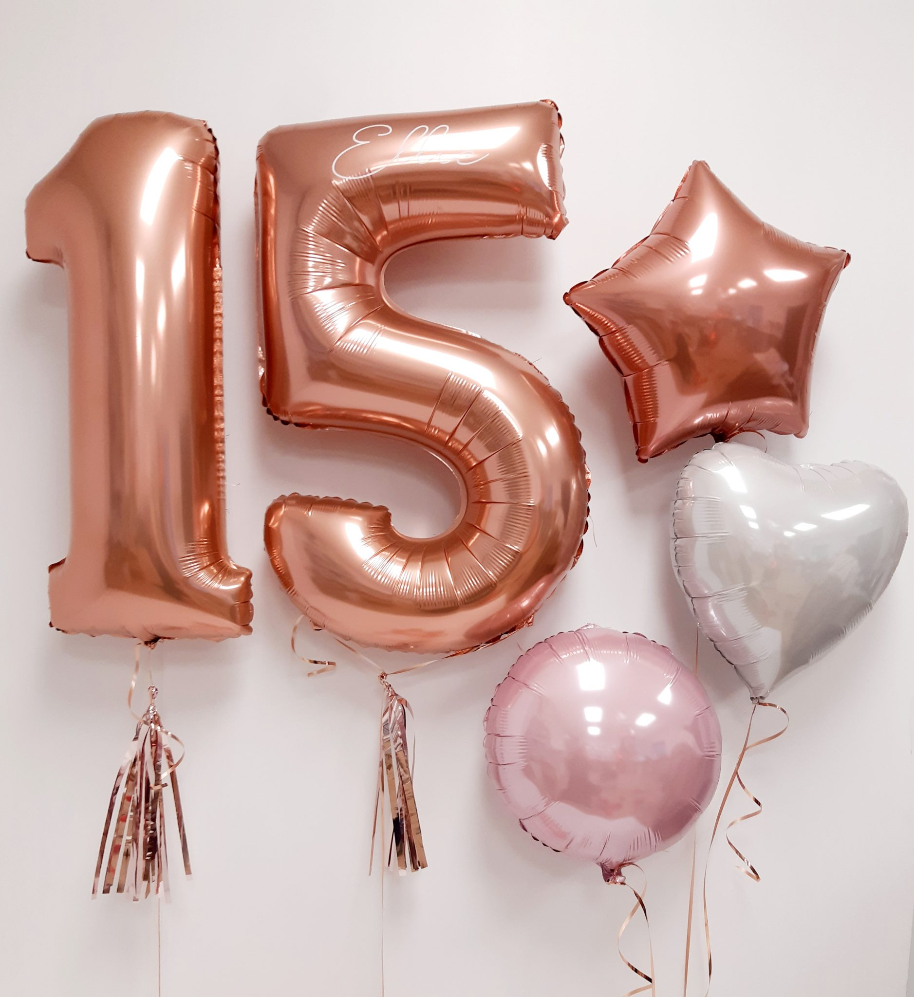 Inflated Rose Gold Birthday Balloon Numbers - Confetti Balloons