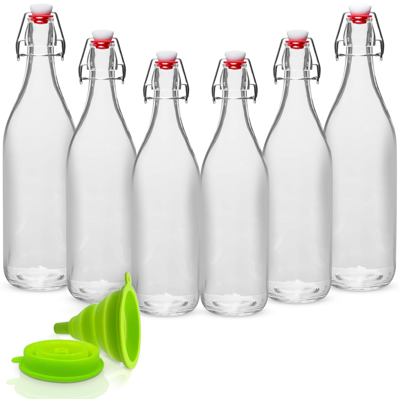 Mua WILLDAN Giara Glass Bottle with Stopper Caps, Set of 6-33.75 Oz Swing Top Glass Bottles for Beverages, Oils, Kombucha, Kefir, Vinegar, Leak Proof Lids trên Amazon Mỹ chính hãng 2021 | Fado