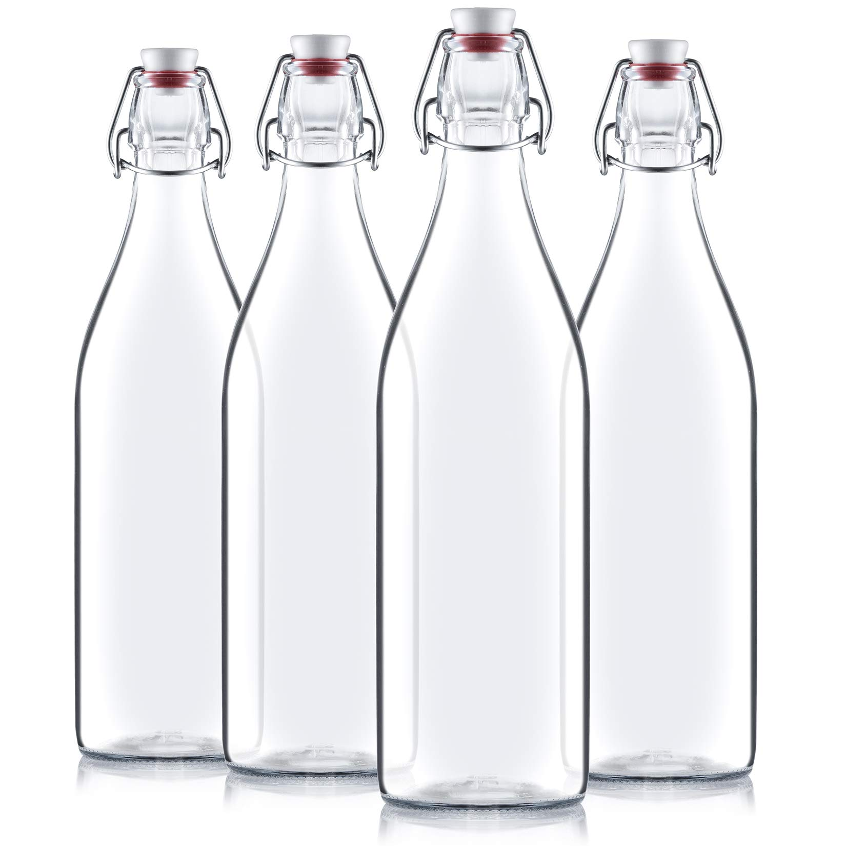 Bormioli Rocco Giara Clear Glass Bottle With Stopper [Set of 4] Swing Top Bottles Great for Beverages, Oil, Vinegar | 33 3/4 oz: Buy Online at Best Price in UAE - Amazon.ae