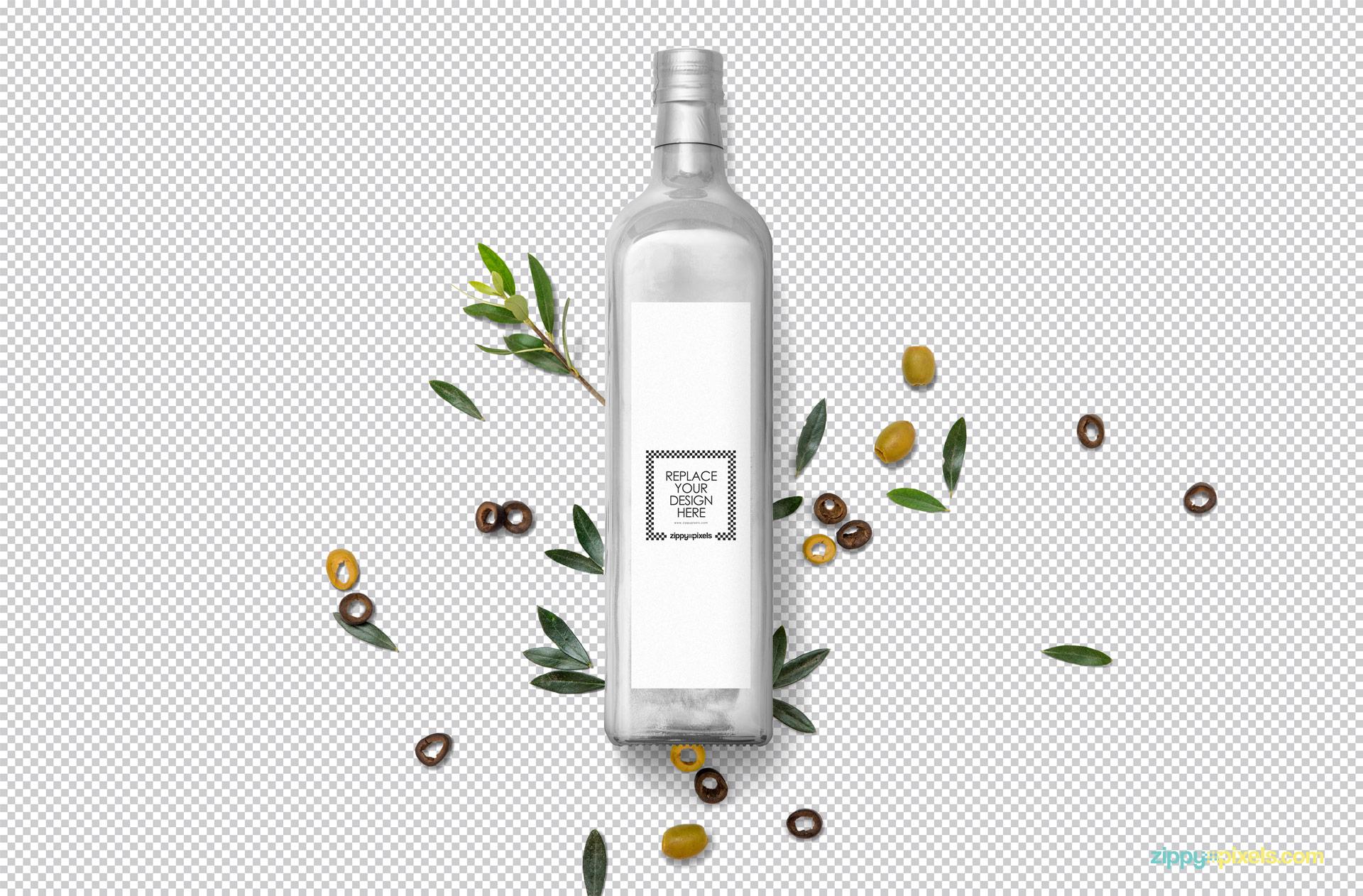 Free Customizable Glass Bottle Mockup | ZippyPixels
