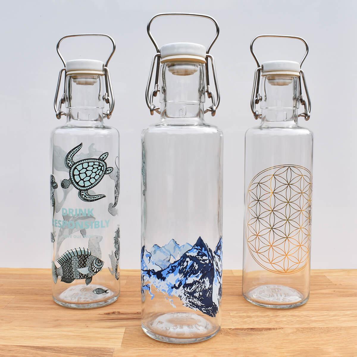 Soul Bottle 'Plants Make People Happy' Glass Water Bottle - 600ml