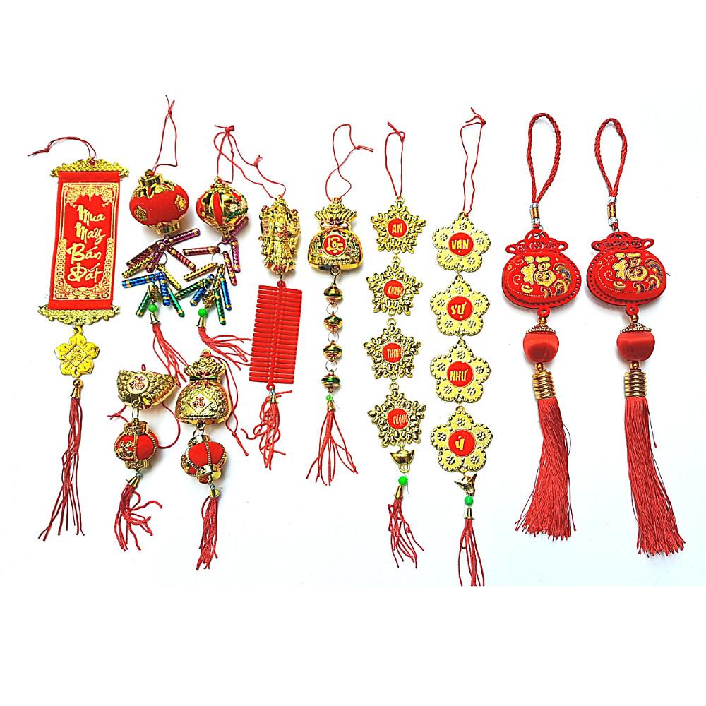 Combo 11 Phụ Kiện May Mắn Treo Trang Trí Tết Loại Trung Mẫu Cặp Túi Nhung Chữ Phúc Mẫu 1 - Phụ kiện - Vật liệu trang trí Tác giả OEM | SachTrangAn.com