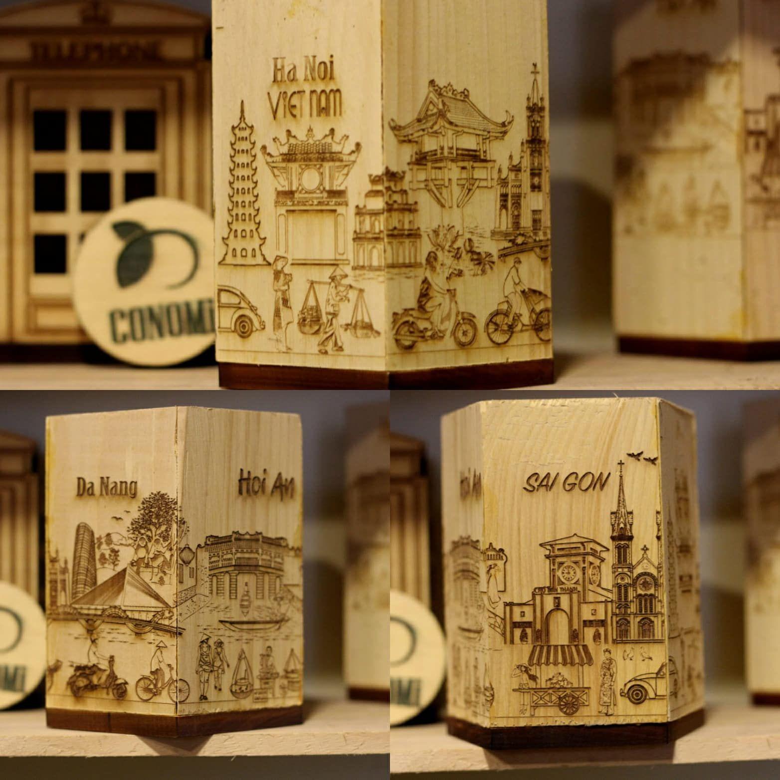 Hộp bút lưu niệm các thành phố Vietnam. Chất liệu gỗ tự nhiên. CONOMi - Bán sỉ đồ lưu niệm các danh thắng Vietnam / 0916645007 | Souvenirs, Gỗ