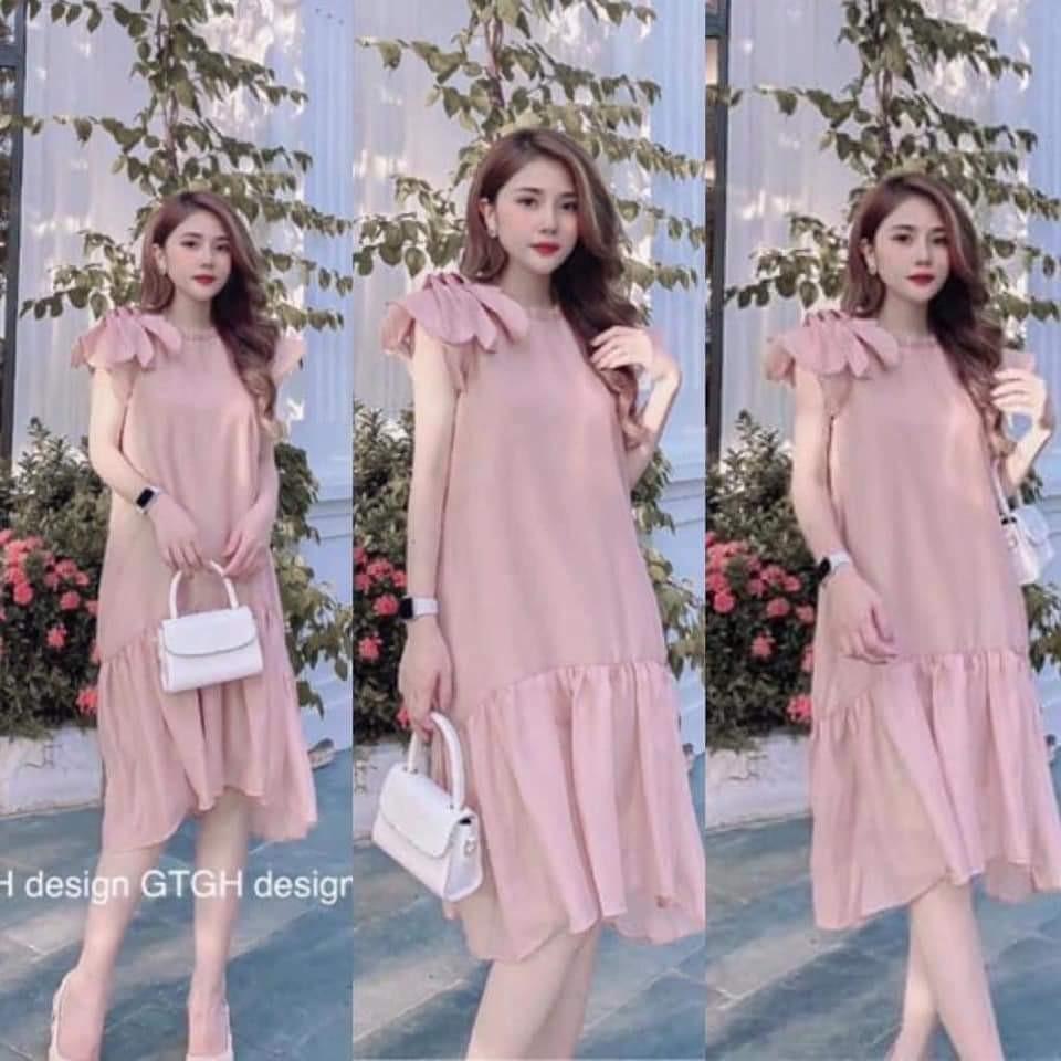 Chỉ 169,000đ - đầm bầu-váy bầu thời trang thiết kế nơ vai sát lách chất voan hai lớp freesize từ 45 đến 70kg | XaSaXa.Info