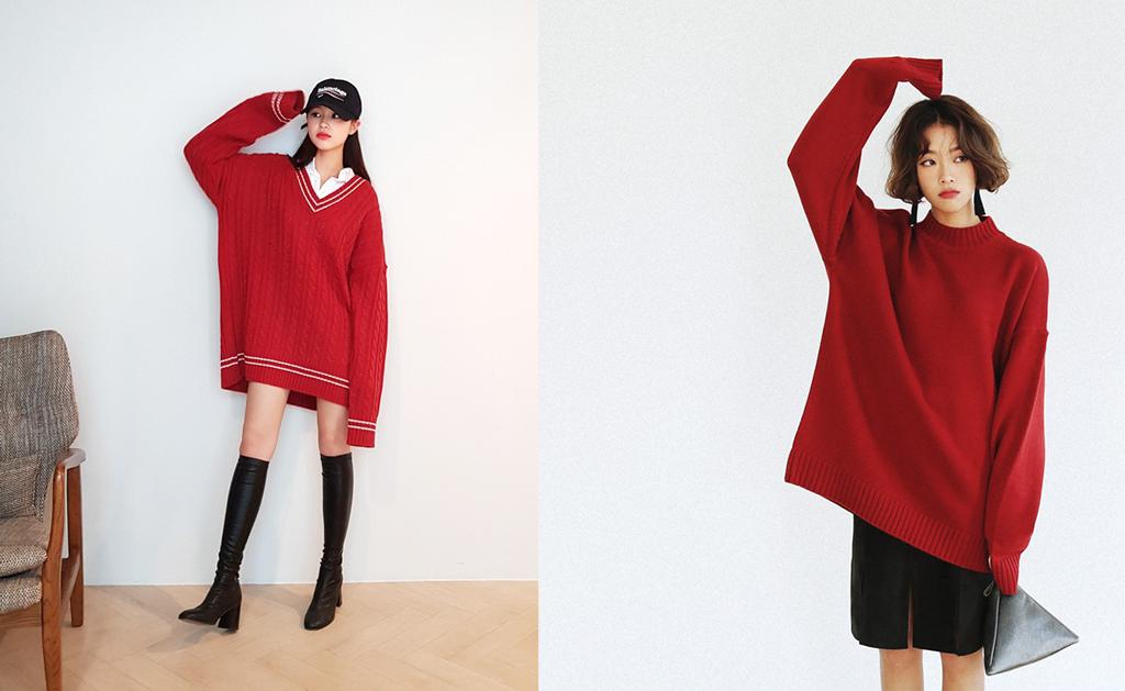 12 Gợi ý mix đồ với áo len đỏ xinh lung linh cho bạn đi chơi