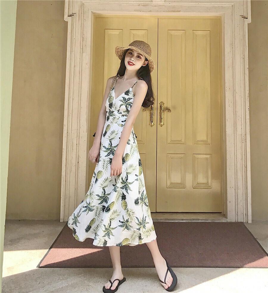 Đầm maxi trái thơm đan dây lưng màu trắng | Đầm maxi đẹp