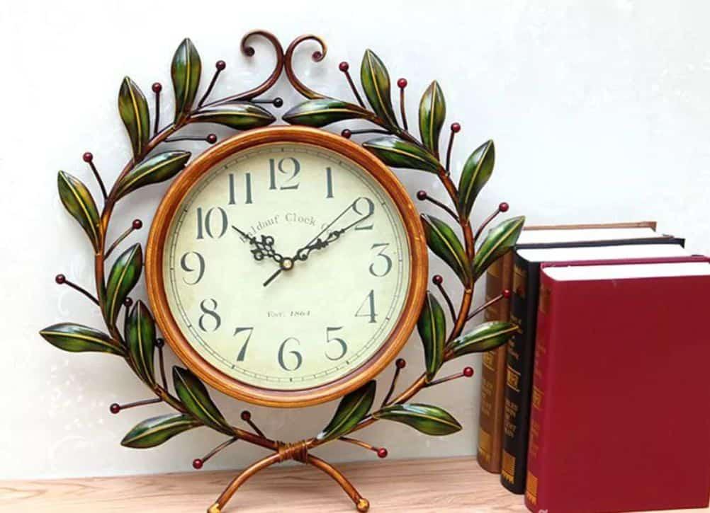 Đồng hồ treo tường phòng khách khung lá cây | Nội Thất Đương Đại