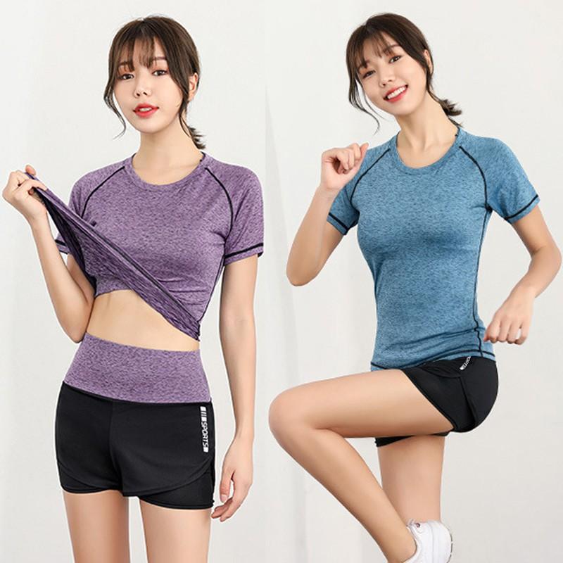 Bộ đồ tập Gym nữ - Set quần đùi và áo tay ngắn [KENZI22] | Shopee Việt Nam