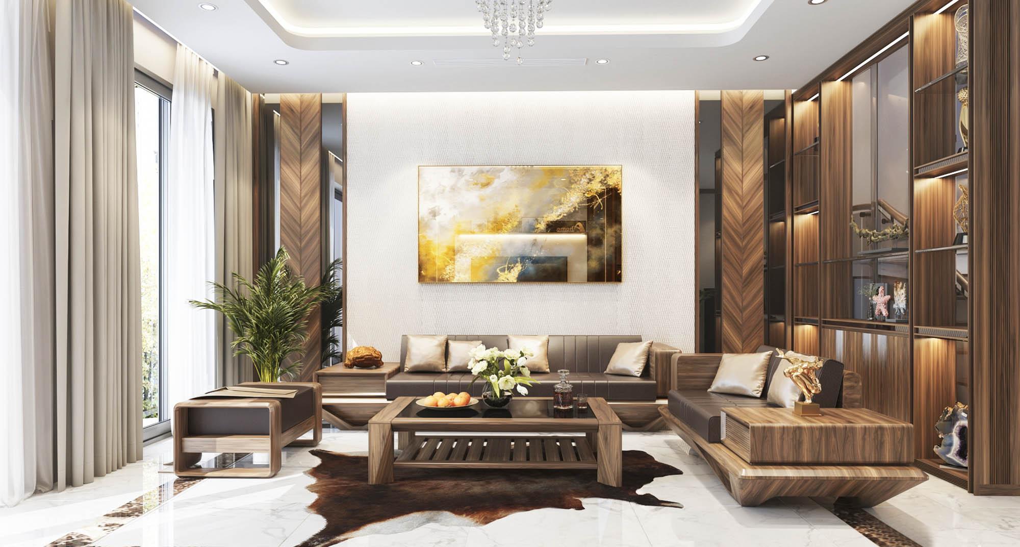 Trang trí nội thất phòng khách nhà ống - Nội thất Cát Tường