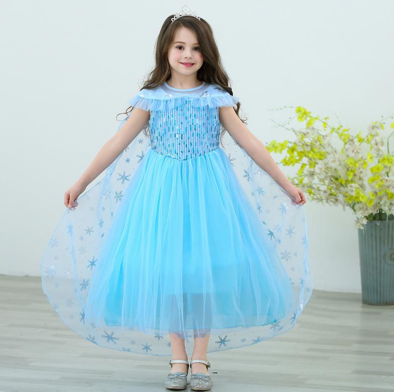HOT】Đầm elsa tà dài màu xanh mẫu mới cao cấp 2020 cho bé gái