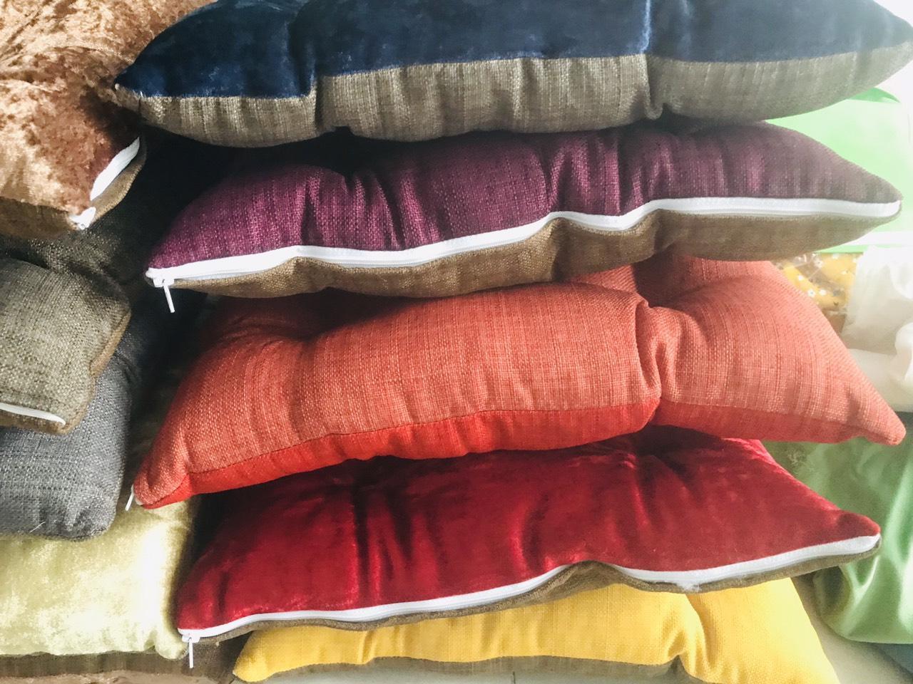Shop bán đệm ngồi vuông vải linen dầy 43cm x 43cm - màu ngẫu nhiên | Review  ZimKen