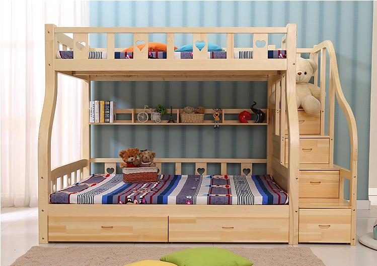 Giường tầng trẻ em giá rẻ được làm từ gỗ tự nhiên an toàn cho bé