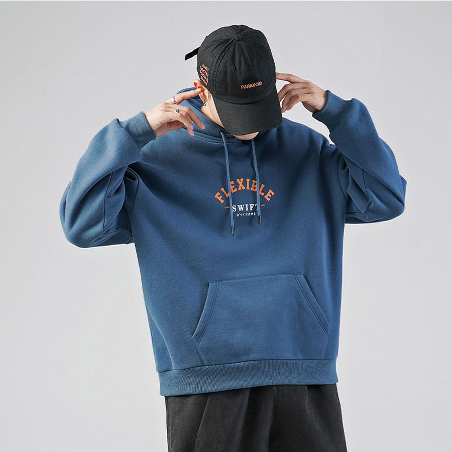 Áo hoodie basic, Hoodie Form Rộng trơn Tối Giản Xanh Dương – Hotloko