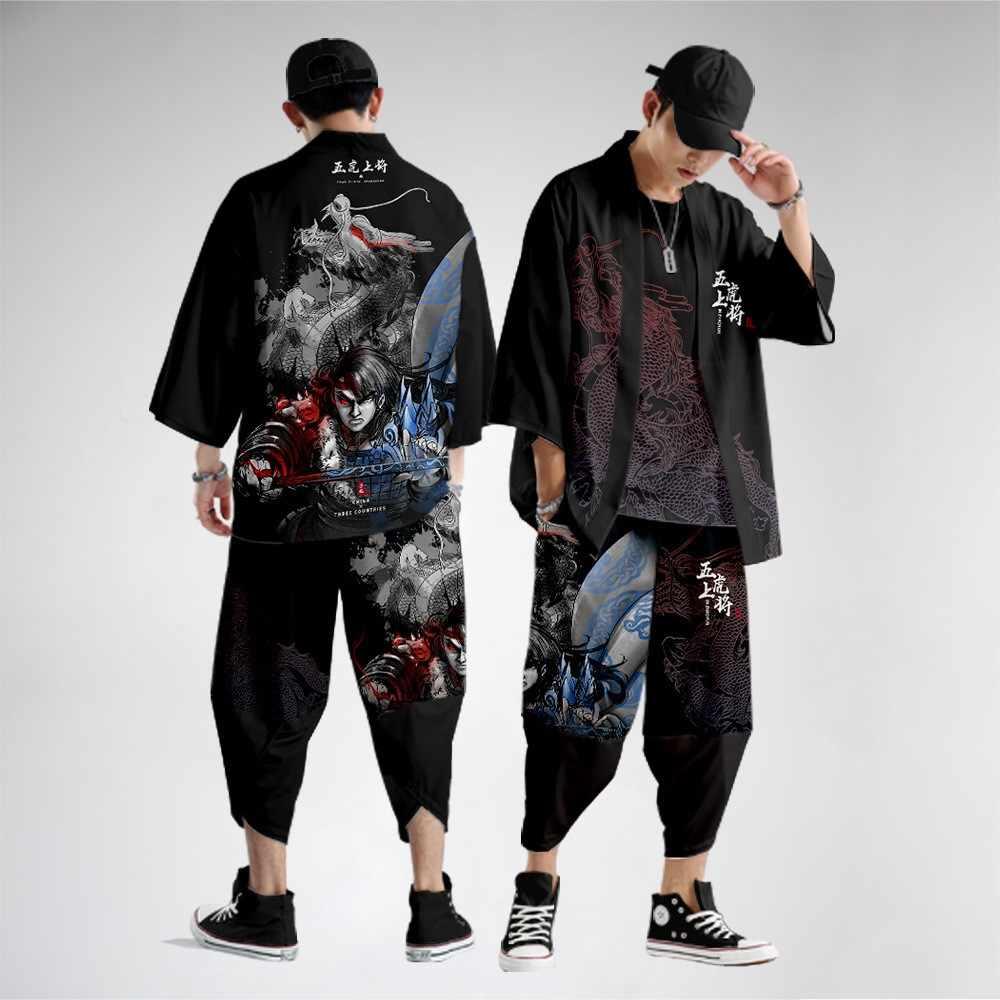 Phong Cách Trung Hoa In Áo Cardigan Kimono Bộ Plus Size Nam Yukata Samurai Quần  Áo Dáng Rộng Dạo Phố Áo Khoác Quần Phù Hợp Với 6XL Men's Sets  - AliExpress