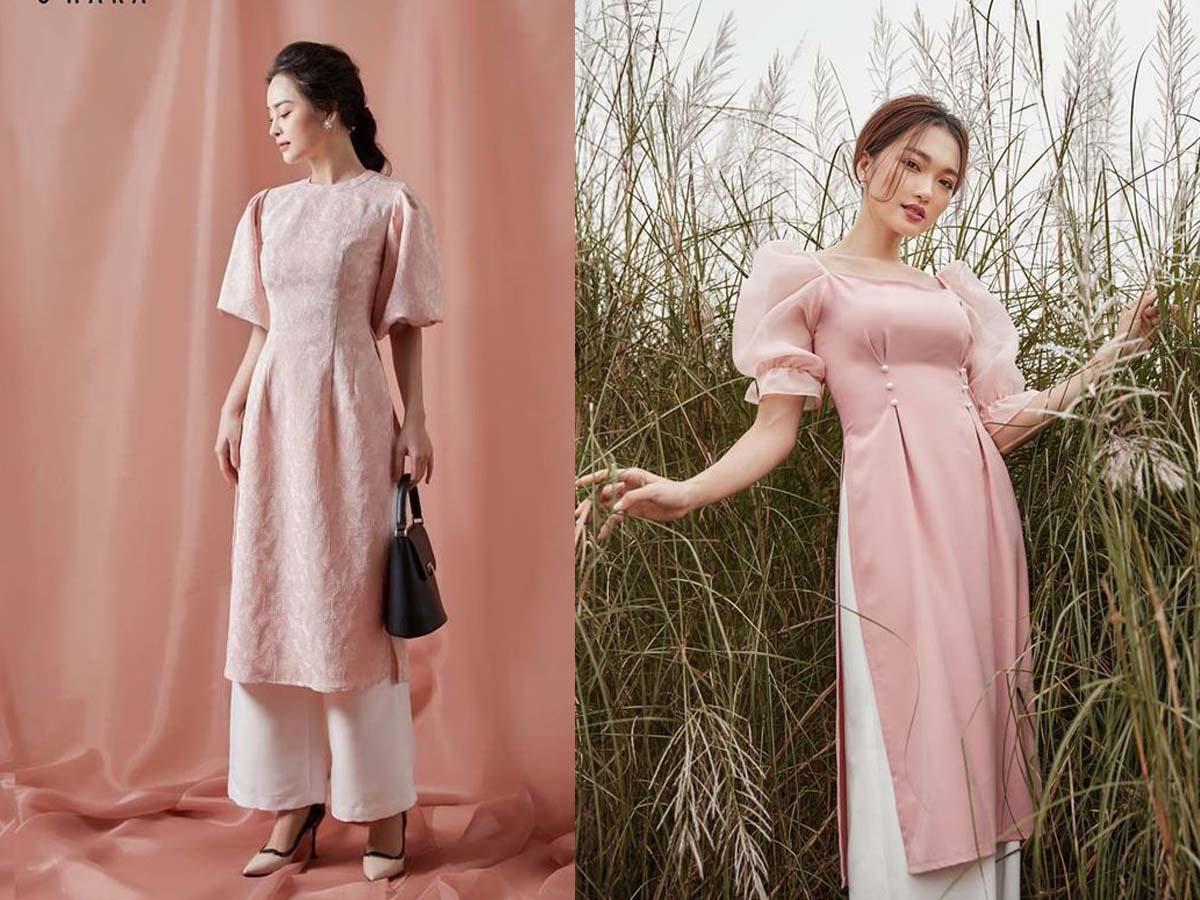 6 mẫu áo dài cách tân màu hồng ngọt ngào cho nàng đắm say