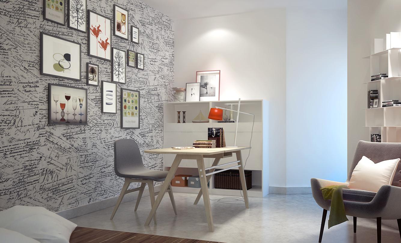 Mẫu giấy dán tường khơi nguồn sáng tạo cho phòng làm việc