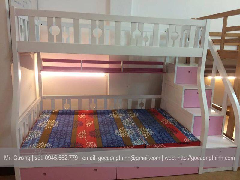 Giường Tầng Gỗ Sồi sơn bệt GT003