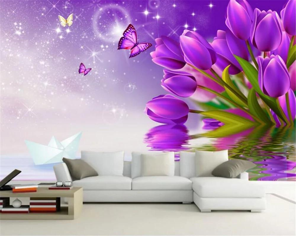 Beibehang Tùy Chỉnh Giấy Dán Tường Hình Hoa Tulip Nền 3D Phòng Khách Phòng Ngủ TV Nền Bức Tranh Tường 3D Giấy Dán Tường Papel De Parede|papel de parede|de paredetv background -